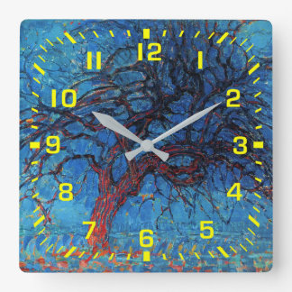 Yellow Numbers / Piet Mondrian, Evening: Red Tree Square Wall Clock