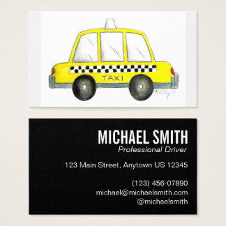 Yellow NYC Checkered Taxi Cab Car Driver Chauffeur Business Card
