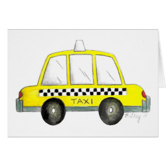 Yellow NYC Checkered Taxi Cab New York City NY Card