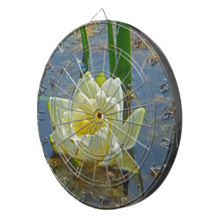 Yellow Nymphaea Alba Dartboard With Darts