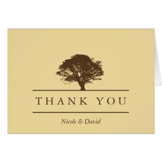 Yellow oak tree personalized thank you note card