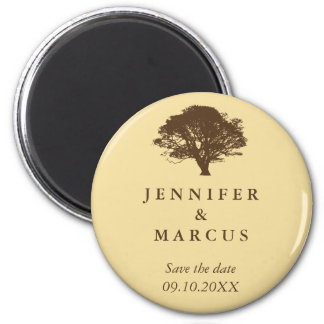 Yellow oak tree wedding announcement save the date 2 inch round magnet