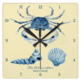 Yellow Ocean Crab Seashells Nautical Beach House Square Wall Clock