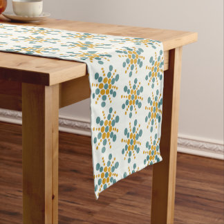 Yellow ochre and grey blue dotted stars on white short table runner