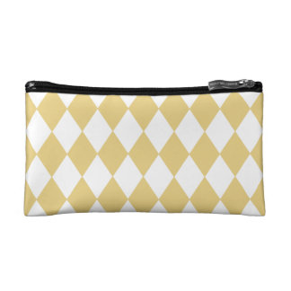 Yellow Ochre and White Diamond Pattern Makeup Bag