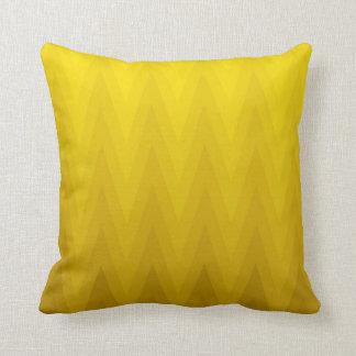 Yellow Ochre Gradient Ombre Chevron Pattern Throw Pillow