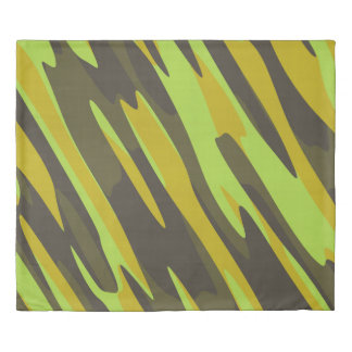 Yellow olive camo abstract duvet cover