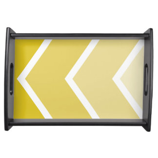 Yellow Ombré Chevron Stripes Serving Tray