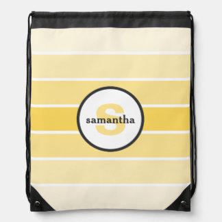 Yellow Ombre Monogram Drawstring Bag