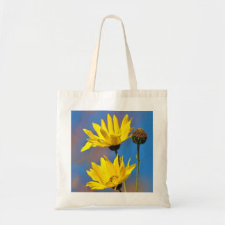 Yellow on Blue Tote Bag