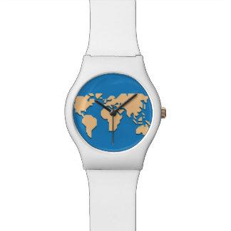 yellow on blue wrist watch