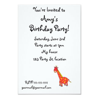 "Yellow on red giraffe 3.5"" x 5"" invitation card"