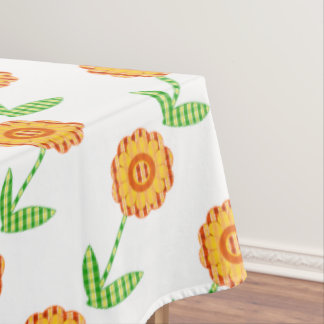 Yellow Orange And Green Plaid Floral Tablecloth