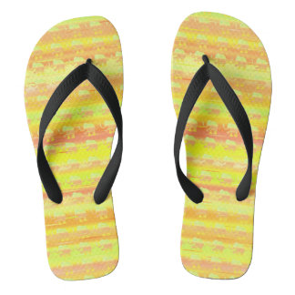 Yellow, Orange and Green Striped Elephant Pattern Flip Flops
