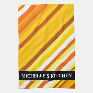 Yellow, Orange and White Sunset-Inspired Stripes Hand Towels