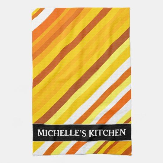 Yellow, Orange and White Sunset-Inspired Stripes Kitchen Towel