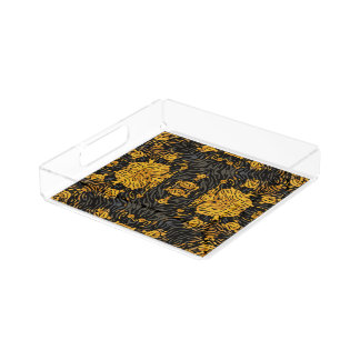 Yellow Orange Animal Print Perfume Tray
