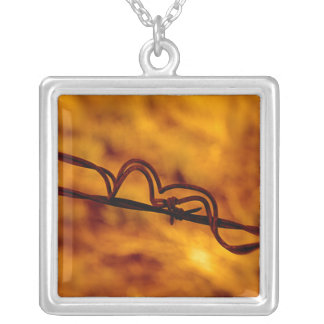 Yellow Orange Barbed Wire Fugue Silver Plated Necklace