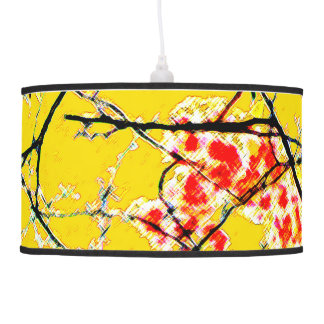 Yellow orange black abstract floral design blossom hanging pendant lamps