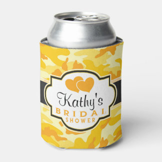 Yellow Orange Camo, Camouflage Bridal Shower Can Cooler