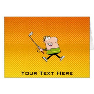Yellow Orange Cartoon Golfer Greeting Card