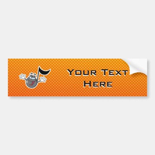 Yellow Orange Cartoon Music Note Bumper Sticker