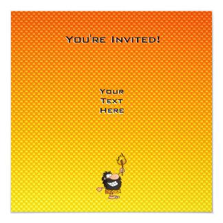 """Yellow Orange Caveman 5.25"""" Square Invitation Card"""