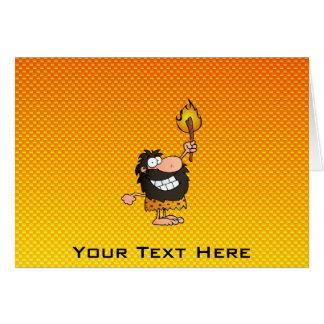 Yellow Orange Caveman Greeting Card