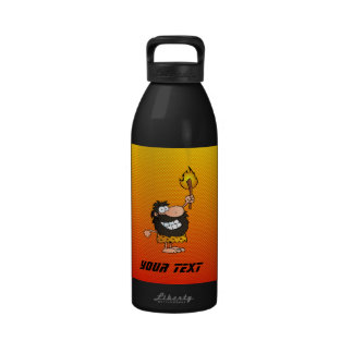 Yellow Orange Caveman Reusable Water Bottle