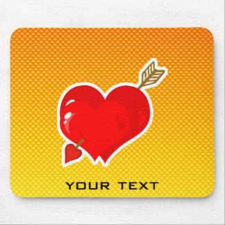 Yellow Orange Cupid Heart & Arrow Mouse Pad