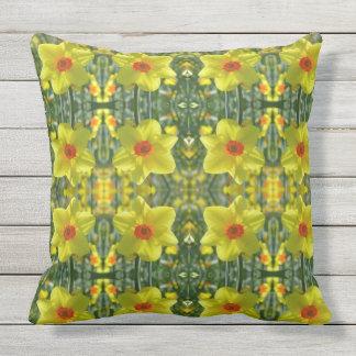 Yellow orange Daffodils 01.0.2.P Outdoor Pillow
