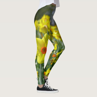 Yellow orange Daffodils 01.0. Leggings