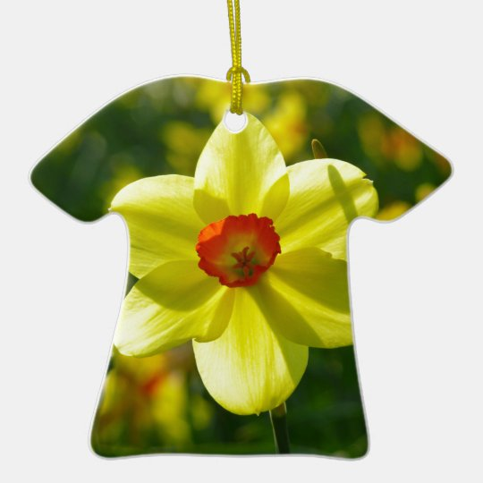 Yellow orange Daffodils 02.1g Ceramic T-Shirt Ornament