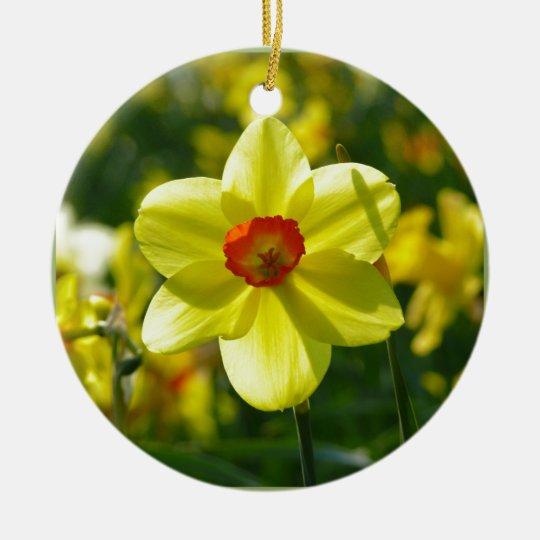 Yellow orange Daffodils 02.1g Round Ceramic Ornament