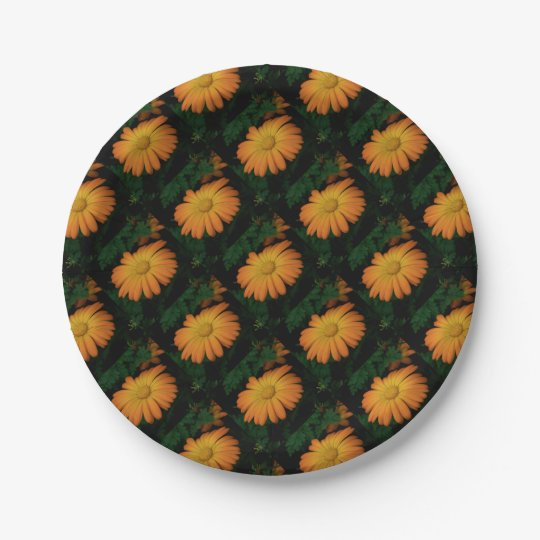 Yellow orange daisy flower 7 inch paper plate