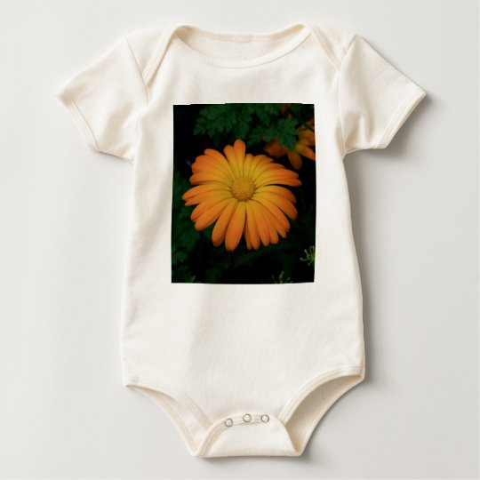 Yellow orange daisy flower baby bodysuit