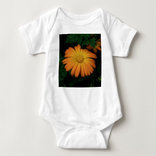 Yellow orange daisy flower baby bodysuit