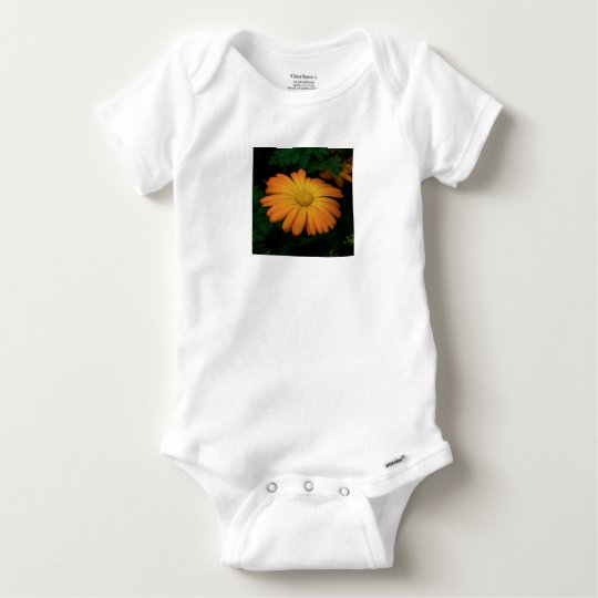 Yellow orange daisy flower baby onesie