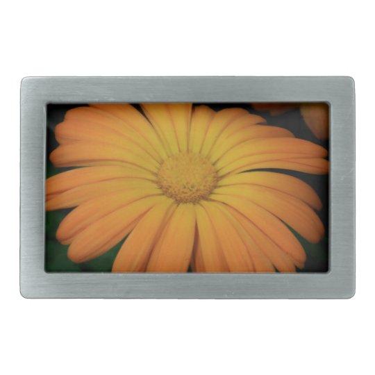 Yellow orange daisy flower belt buckle