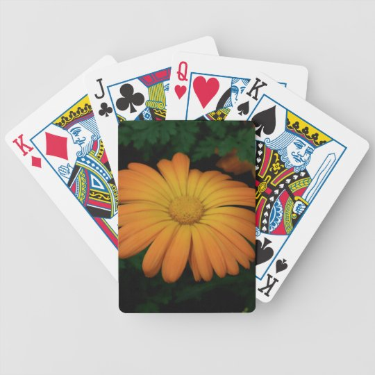 Yellow orange daisy flower bicycle playing cards