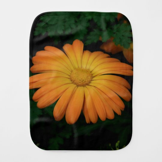 Yellow orange daisy flower burp cloth