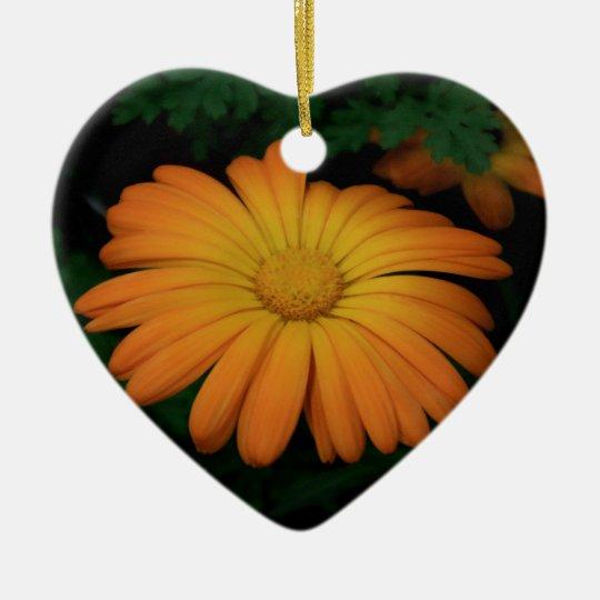 Yellow orange daisy flower ceramic heart ornament