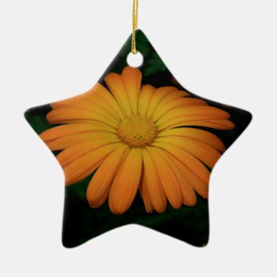 Yellow orange daisy flower ceramic star ornament