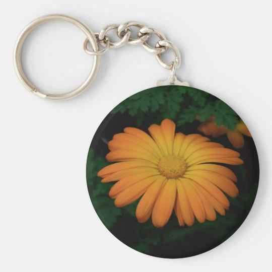 Yellow orange daisy flower keychain