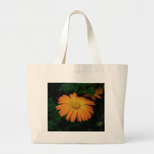 Yellow orange daisy flower large tote bag