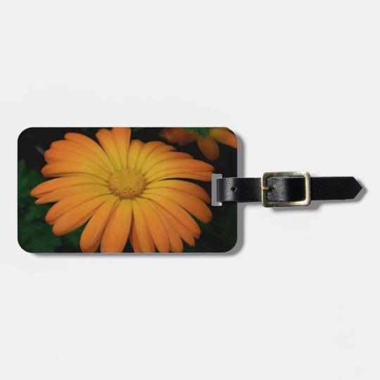 Yellow orange daisy flower luggage tag