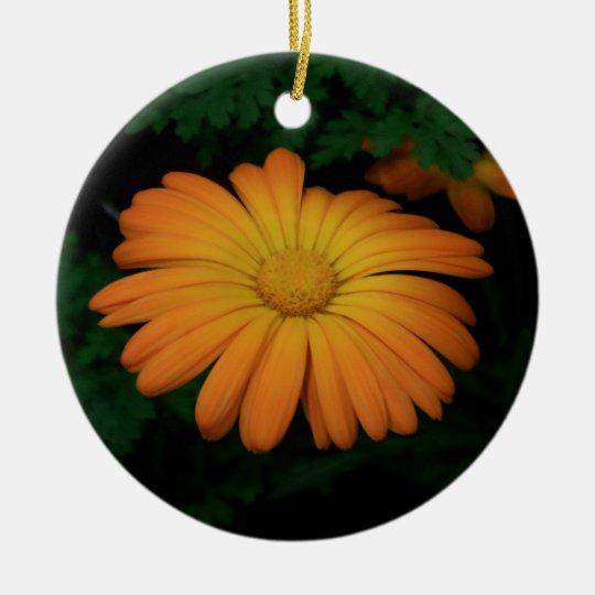 Yellow orange daisy flower round ceramic ornament
