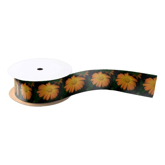 Yellow orange daisy flower satin ribbon