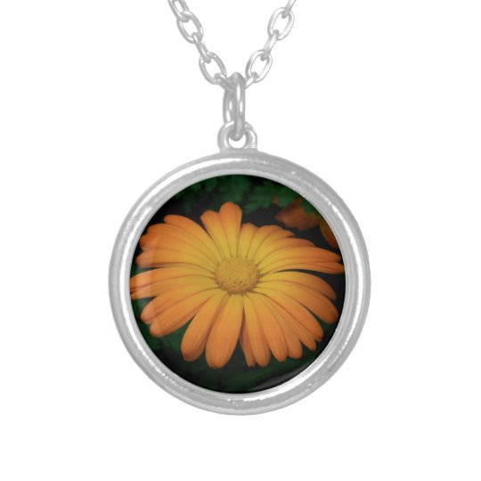 Yellow orange daisy flower silver plated necklace