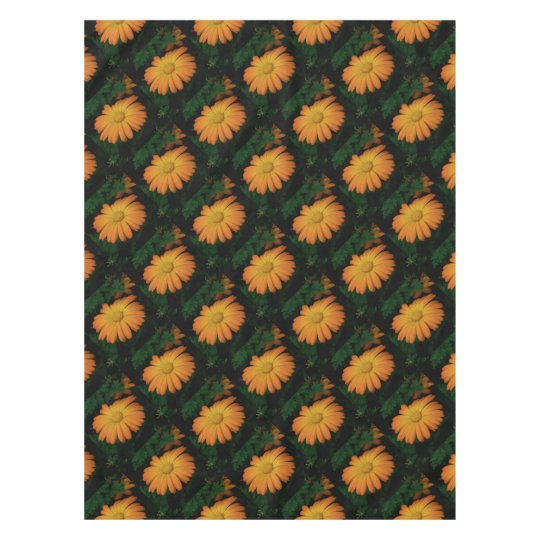 Yellow orange daisy flower tablecloth